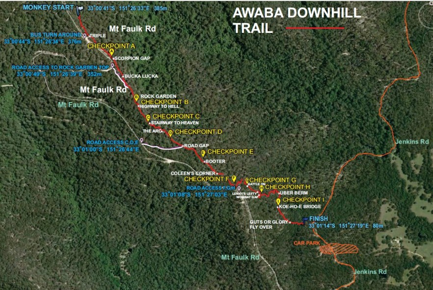 HMBA Awaba DH Trail Map