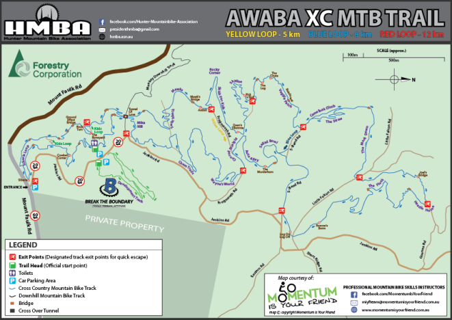 HMBA Awaba MTB Park Trail Map