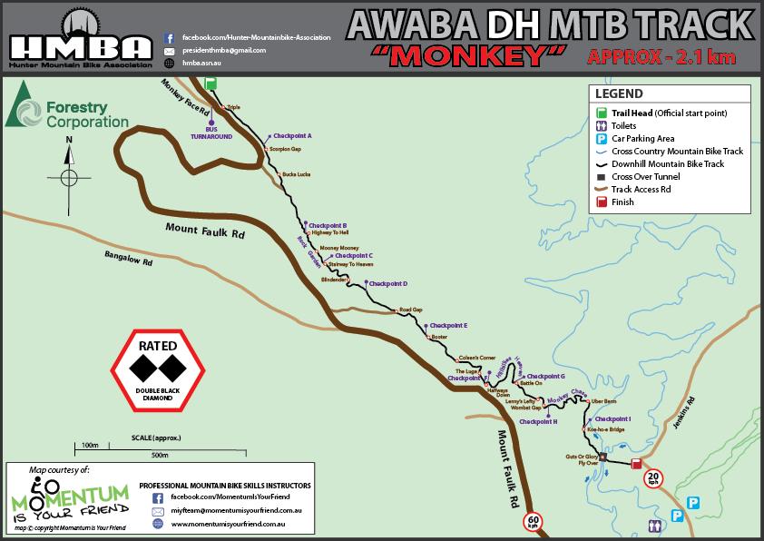 HMBA Awaba MTB Park MONKEY Map